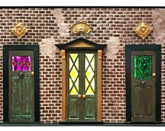 Old English Mews Doors - 1:12 scale miniature architectural façade - vintage style with faux stained glass