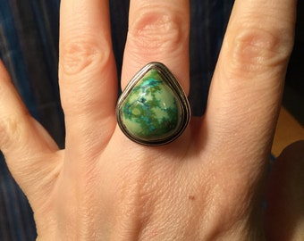 Green and Turquoise Jasper Sterling Silver Ring Size 6.25