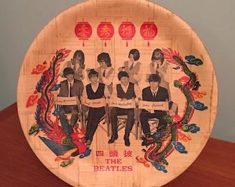 Authentic vintage Beatles bamboo souvenir plate tray The Beatles plate Rare Beatles memorabilia Beatles hair