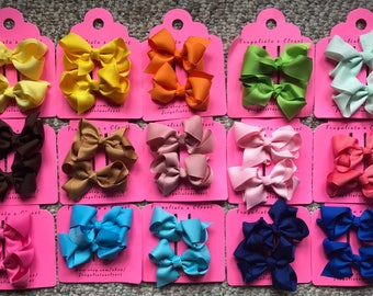 """Grosgrain ribbon Bows MANY COLORS set of 2-  3"""" Hair Bow Clip (Toddler, Children's, Girl, Woman)"""
