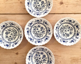 Blue Nordic Bowls, Blue Onion Bowls, 5 Coupe Cereal Bowls, Swirl Pattern, J G Meakin Blue Nordic Bowls, Each Sold Separately,