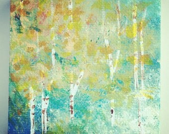 Mini Abstract Forest Painting with Easel