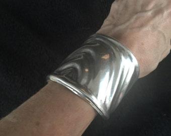 105 grams - Modernistic  Sterling Silver Cuff Bracelet