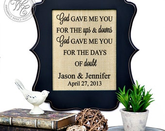 God Gave Me You, Personalized Wedding Gift Wall Art, Blake Shelton Song, Wedding Song Lyrics, Love Song Burlap Print