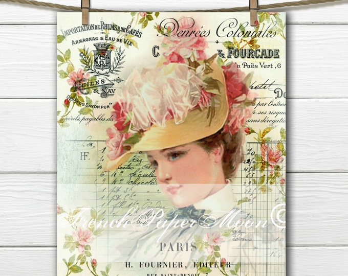 Digital Shabby Victorian Lady, Vintage hat Lady, Vintage Woman French Graphic, French Pillow Transfer Image, Instant Download