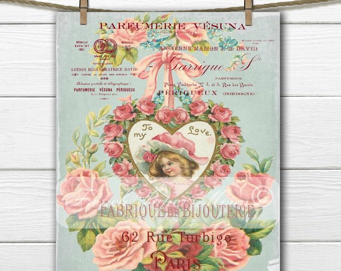 Digital French Graphic Vintage Valentine, Shabby Valentine, Victorian Girl, Valentine Pillow Image Transfer Graphic, Instant Download