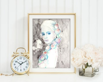 Young woman poster. Watercolor print. Woman watercolor art print. Wall art, wall decor, digital print. Тhe girl with the apples.