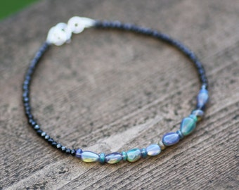 Natural Black Spinel and Black Opal Bracelet in Solid 14K White Gold , 14th 22nd Anniversary , May October Birthstones , Wedding , Bridal