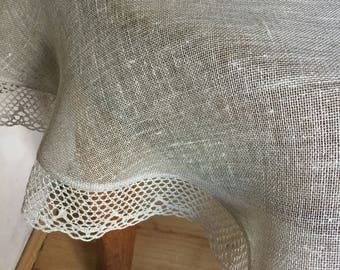 Round Linen Tablecloth Linen Lace Grey Natural Flax