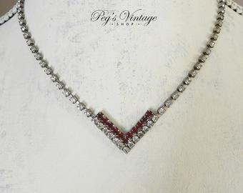 Vintage Red & Clear Rhinestone Chevron Necklace, Rhinestone Chain V Necklace