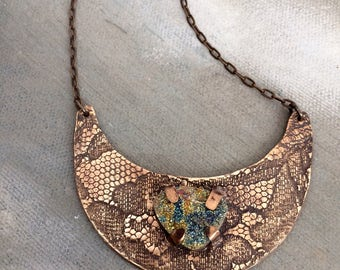 Bronze Lace Crescent Pendant with Blue Green Pyrite Druzy Necklace