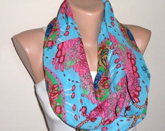 blue pink green  infinity scarf chiffon scarf multicolor loop scarf circle scarf fashion scarves gift for her