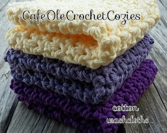 Crochet washcloths, Set of 3 reusable handmade washcloths, packaged ready for gift giving
