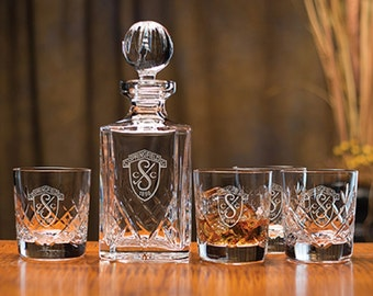Director's Whiskey Decanter Set Includes 4 Glasses - Engraving & Gift Box Included