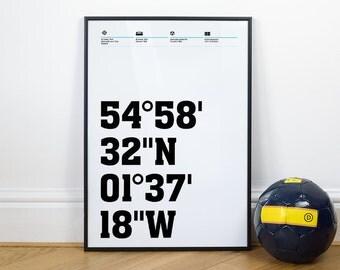 Newcastle United Football Stadium Coordinates Posters