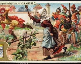 Original antique Victorian Trade card of French people