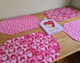 Set of 4 Reversible St. Valentine's Day Placemats Featuring Pink and Red Hearts!