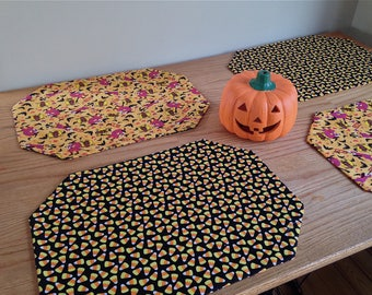 Halloween Placemats! Set of Four Reversible Placemats Featuring Zany Witches and Yummy Candy Corn!