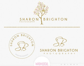 Whimsical Cute Love tree -Premade Photography Logo and Watermark, Classic Elegant Script Font GOLD GLITTER TREE childrenCalligraphy Logo