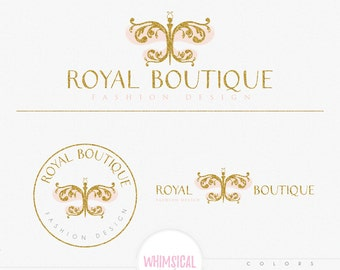 Royal Butterfly Logo - Premade Photography Logo and Watermark, Classic Elegant Script Font GOLD GLITTER butterfly children Calligraphy Logo
