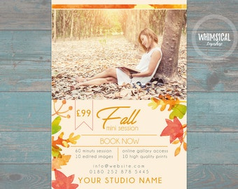 "Fall Mini Session Template for Photographers - 7""x5"" print - psd template- eps pdf - editable file- watercolor leaves and orange ad template"