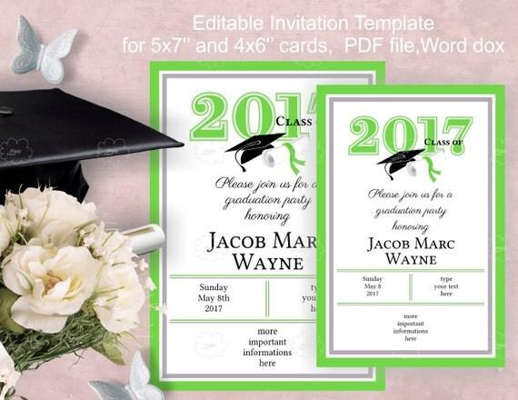 Green Graduation Invitation Template Download - class of 2017 - edit yourself invitation