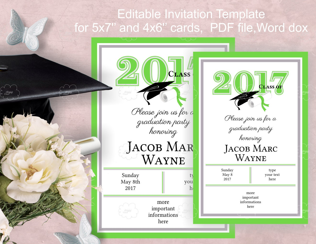 graduation party invitation template download edit yourself. Black Bedroom Furniture Sets. Home Design Ideas