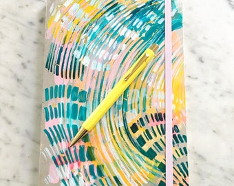 colorful hand painted journal notebook 5.75x8.25 painted notebook. colorful notebook