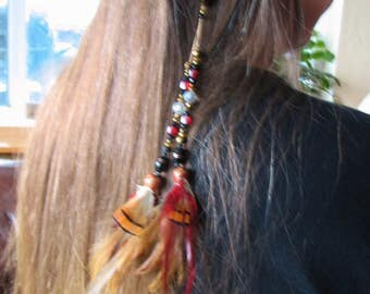 Beads and Feathers Hair Clip/Barrett