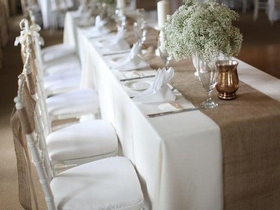 Burlap table runner modern rustic runner natural burlap - Decoration table mariage champetre ...