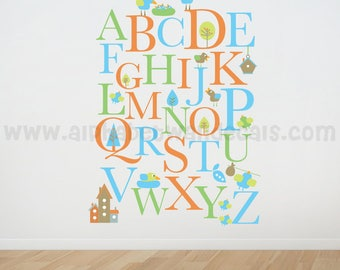 Alphabet Nursery Wall Decal - Playroom Wall Decal - Educational Wall Decal - Play Room Wall Decal - Custom Decal Wall Graphics - 01-0001