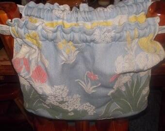 c-vintage barkcloth clothespin bag