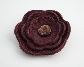 Burgandy Leather Flower Ponytail Holder