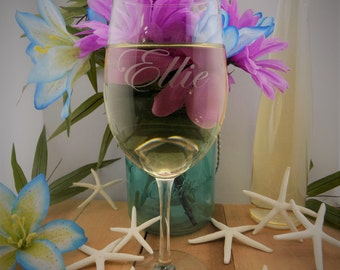 SUMMER SALE ends 8/30 9.99 Set of TWO Personalized Custom Engraved 17Oz White Wine Glasses.  Fast Shipping!!