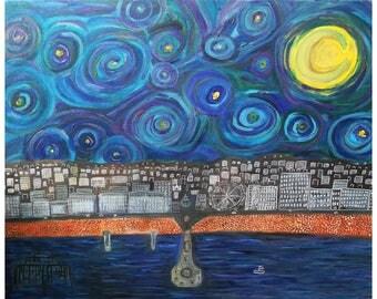 Seaside night starry night art print