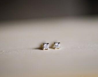 April Birthstone Mini Diamond Sterling Silver Studs