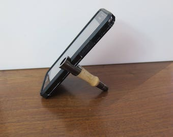 Smartphone stand and phone Stylus in gun metal finish with hand turned figured curly maple.  Custom phone holder for face time