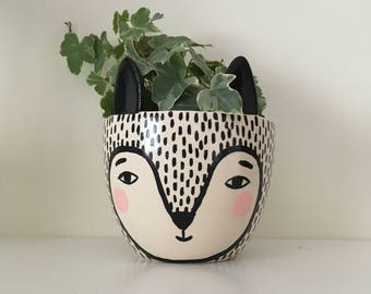 Fox Plant Pot - Ceramic Plant Pot - Small Plant Pot - Modern Plant Pot - Monochrome Plant Pot