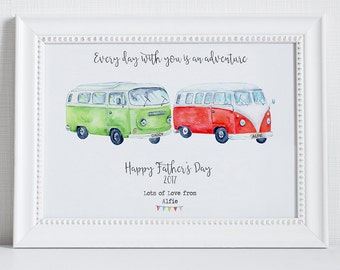 Father's Day gift - personalised father's day print - camper vans - father's day present - gift for dad - camper van print