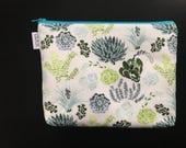 Tiny Succulents Medium Zipper Pouch // Small Makeup Bag // Floral Botanical Fabric Pouch