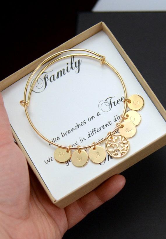 Family Tree Bangle Bracelet Personalized Women Gift For Women