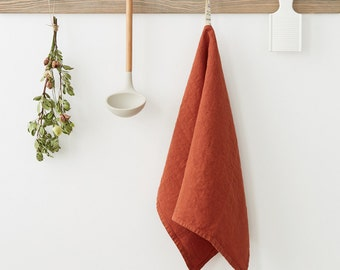 Baked Clay Stone Washed Linen Tea Towel