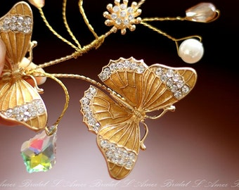 Golden Butterfly Hair vine, wedding hair Accessory Great for Woodland, Butterfly Bridal Piece or Everyday Use., Butterfly hair clip