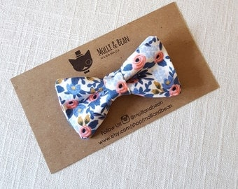 FREE U.S SHIPPING...Newborn Bow Tie, Toddler Bow Tie, Boys Bow Tie, Rifle Paper blue Boys Bow Tie, blue Floral Bow Tie, Men's Bow Tie