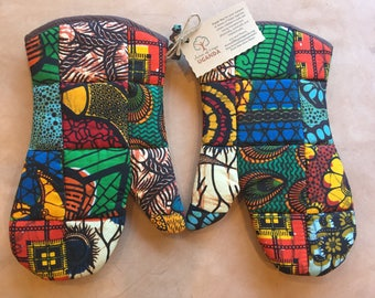 Oven Mitts - African Fabric - Handmade