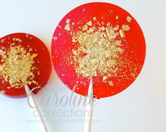 Red and Gold Sparkle Lollipops, Christmas Lollipops, Holiday Gift, Stocking Stuffer, Candy, Sweet Caroline Confections-Set of Six