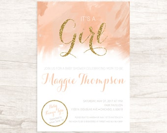 Pretty Pink Baby Shower Invitation for Girl