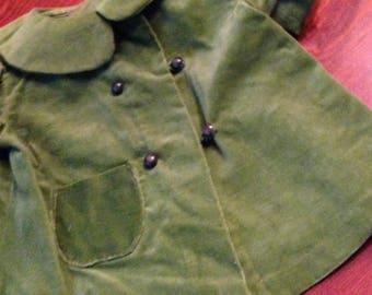 Doll Clothes Green Velvet Coat Hand Sewn Boot Buttons & Hand Crocheted Button Hole Loops  Double Breasted Coat Precious Peter Pan Collar