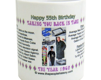 Pre-Made 1962 Birthday Message Mug - Happy 55th Birthday