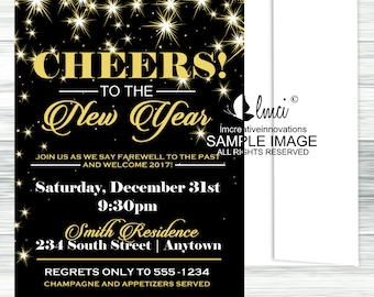 Black and Gold New Years Eve Invitation - Digital File or Printed